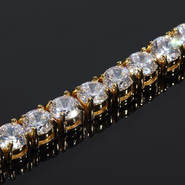 テニスブレスレット テニスブレス ストーン幅6mm x 20cm 18Kゴールド CZダイヤ(キュービックジルコニア)