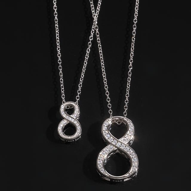 ナンバー ペンダント ペアセット ネックレス NUMBER8 CZダイヤ(キュービックジルコニア)S925シルバー【刻印あり】ホワイトゴールド ネックレス付き