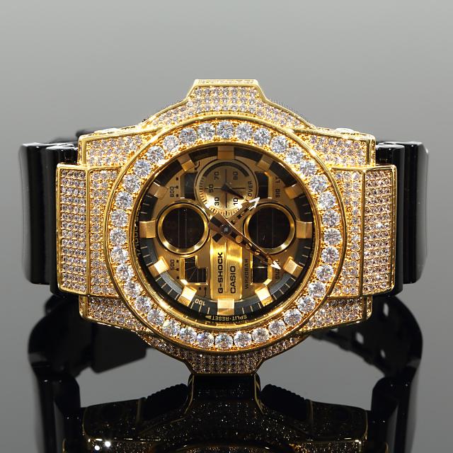 G-SHOCKカスタム GA140GB CZダイヤ(キュービックジルコニア)大粒 Gショック ベゼル 大粒 カスタムバックル 18K GOLD
