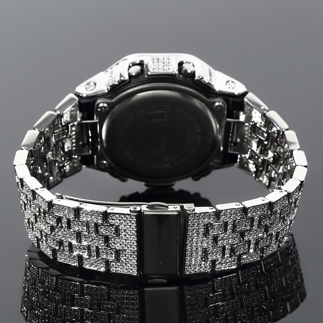 フルカスタム G-SHOCK DW5600 SOLIDモデル レインボー ホワイトゴールド CZダイヤ(キュービックジルコニア)ブラック文字盤 ゴールド