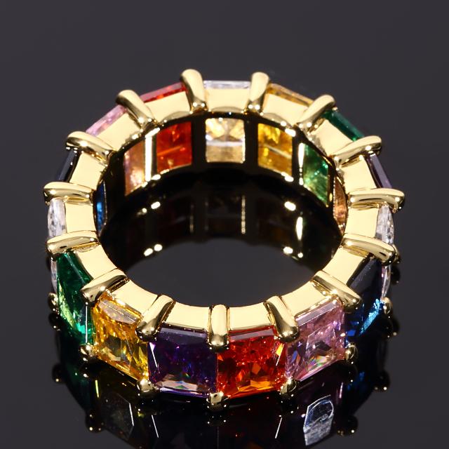 CZダイヤリング メンズ 18号 ゴールド/ホワイトゴールド GOLD セレブRING 18K