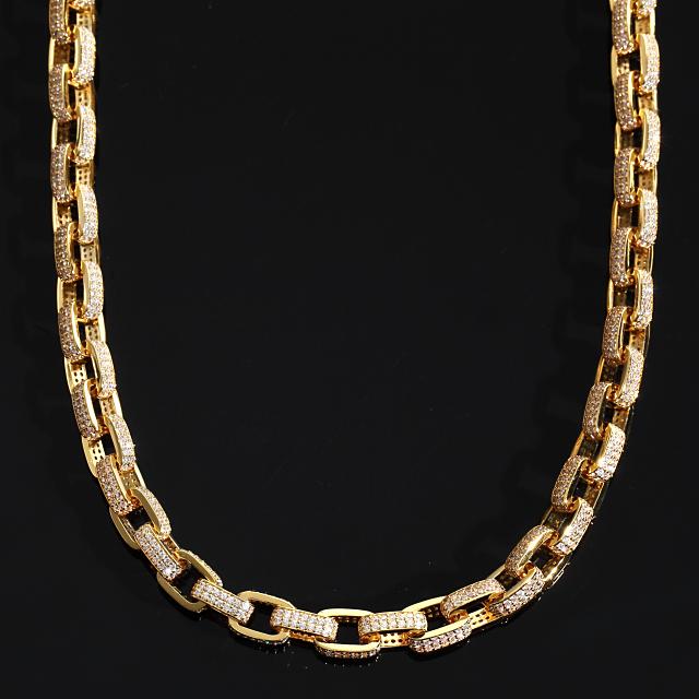 オーディンリンクチェーン フルCZダイヤ(キュービックジルコニア)ゴールドネックレス ORDIN LINK CHAIN 幅10mm x 50cm USラッパー 18KGOLD