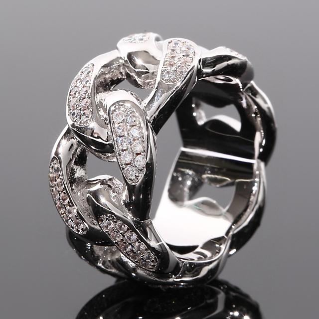 マイアミキューバンリング メンズリング WG ホワイトゴールド CZダイヤ(キュービックジルコニア)USラッパー 幅10mm 16号/18号 プレゼント お祝い ギフト