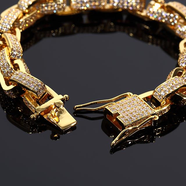 オーディンリンクチェーン フルCZダイヤ(キュービックジルコニア)ネックレス&ブレスレットセット ORDIN LINK CHAIN 幅10mm USラッパー 18KGOLD ギフト プレゼント クリスマス 時計 メンズ レディース お祝い 誕生日