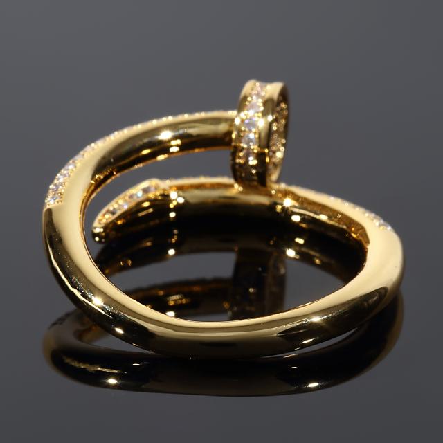 ネイル Nail デザイナーズリング メンズリング 18Kゴールド CZダイヤ(キュービックジルコニア) 16号 18号 プレゼント お祝い ギフト 誕生日