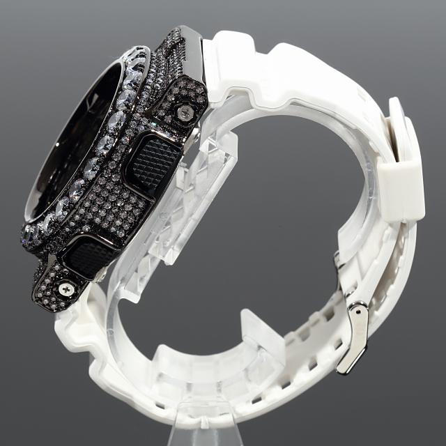G-SHOCK カスタム GA110 ブラックカスタム Gショック CZダイヤベゼル(キュービックジルコニア)バックル+尾錠カスタム