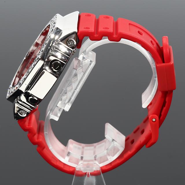 G-SHOCK カスタム GA2100 レッド ベゼルカスタム Gショック 赤 CZダイヤ(キュービックジルコニア)18Kゴールド