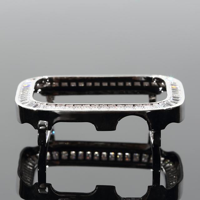 アップルウォッチ 5/4 カバー カスタムベゼル シリーズ4・5 ホワイトゴールド バケットカット CZダイヤ(キュービックジルコニア)44mm おしゃれ キラキラ プレゼント お祝い ギフト