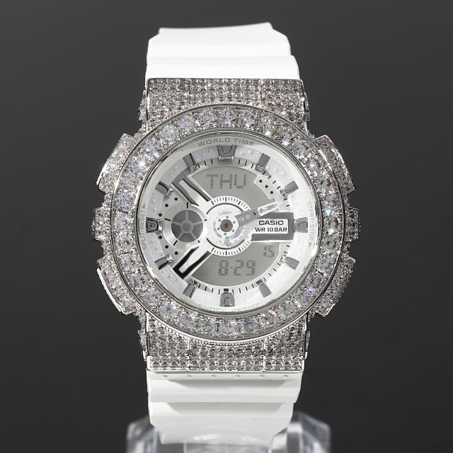 G-SHOCK BABY-G ベイビーG BA-110 ホワイト カスタム カスタムGショック 大粒CZダイヤ(キュービックジルコニア) ローズゴールド