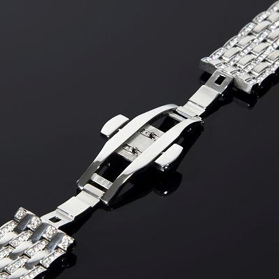 アップルウォッチ【シリーズ4・5】44mm・40mm対応 フルカスタム コンプリートセット CZダイヤ ベゼル&ベルト ホワイトゴールド