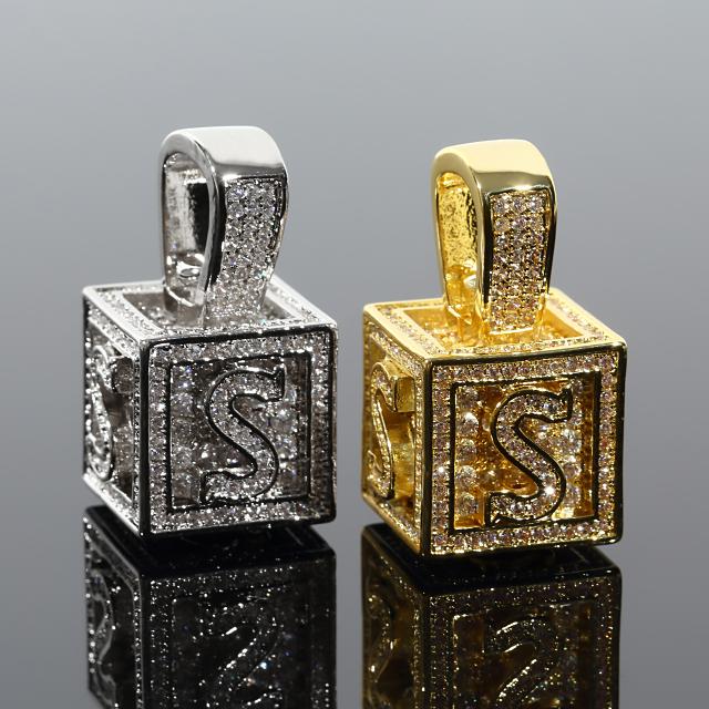 キュービック 3D ペンダント CZダイヤ(キュービックジルコニア)イニシャル S Cubic