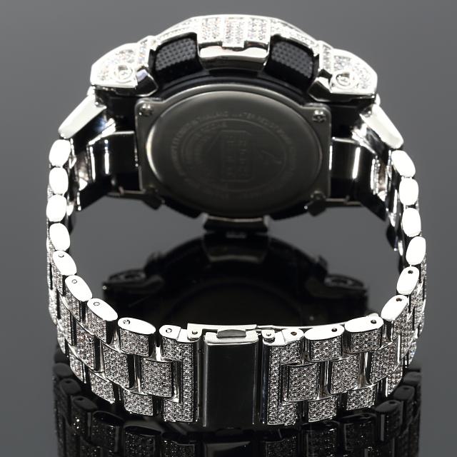 G-SHOCK カスタム GA140GB フルカスタム 22mm極太ベルト Gショック シルバー文字盤 大粒CZダイヤ(キュービックジルコニア)18Kゴールド