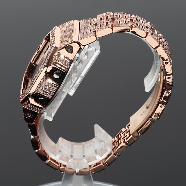フルカスタム G-SHOCK DW5600 SOLIDモデル カシオ 18Kゴールド CZダイヤ(キュービックジルコニア)ブラック文字盤 ローズゴールド