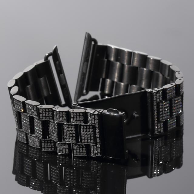 アップルウォッチ バンド カバー 本格フルカスタムコンプリートセット 42mm 44mm専用 ブラックゴールド BLACKGOLD シリーズ(2・3・4・5)大粒タイプ 時計 プレゼント メンズ レディース ギフト お祝い 誕生日