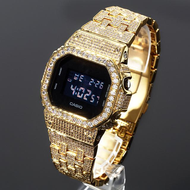 フルカスタム G-SHOCK DW5600 SOLIDモデル カシオ 18Kゴールド CZダイヤ(キュービックジルコニア)ブラック文字盤 ゴールド