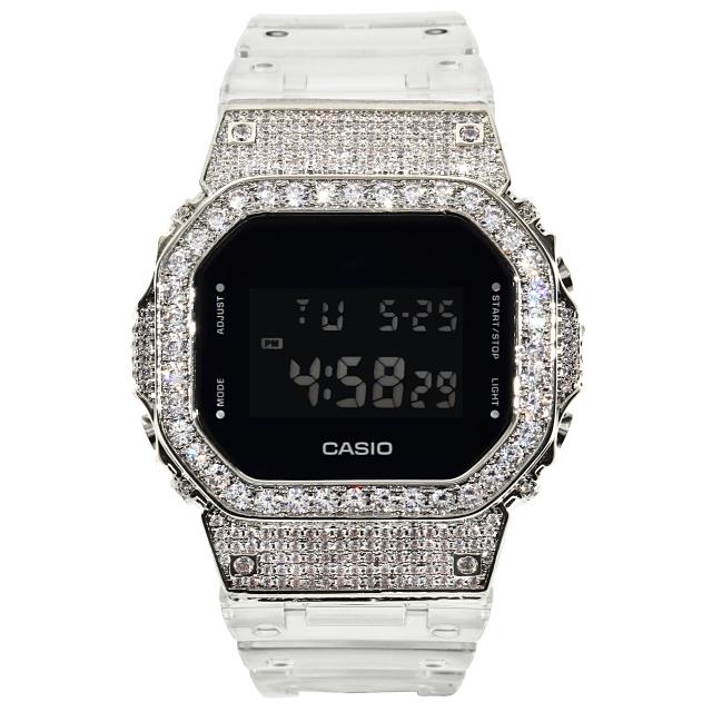 カスタム Gショック DW5600SKE スケルトン G-SHOCK CZダイヤ(キュービックジルコニア)ベゼル