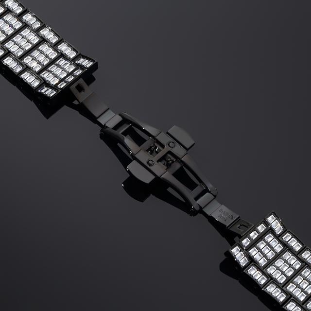 アップルウォッチ 本格フルカスタム バゲットベゼル コンプリートセット シリーズ4/5/6/SE ブラックゴールド【44mm】 CZダイヤ(キュービックジルコニア)
