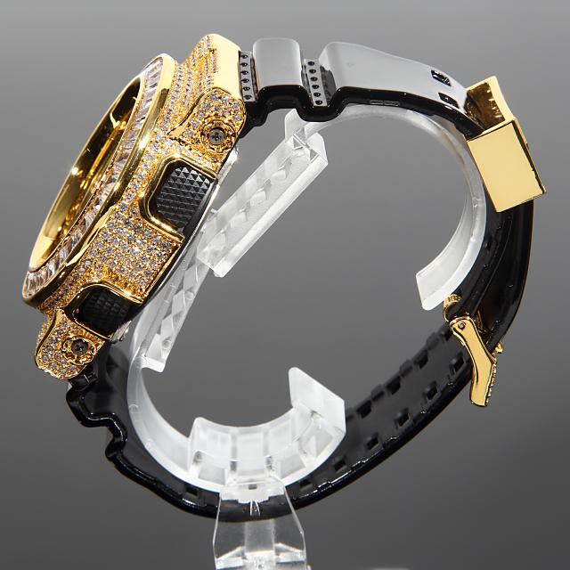 G-SHOCK カスタム GD100 バケットカット カスタム Gショック CZダイヤベゼル(キュービックジルコニア)バックル+尾錠カスタム 18Kゴールド