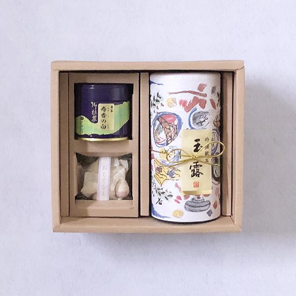 玉露(200g缶入)・ 抹茶寿香の白(30g缶入)・ おもてなし(和三盆) 「O-47」