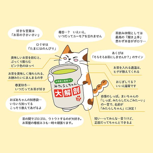 くき茶40g入り和紙缶(みたらしちゃん缶「さきにお茶してるよ」) クリアカートン入