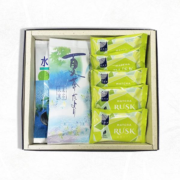 抹茶ラスクとお茶の詰め合わせ(抹茶ラスク5袋、夏茶だより100g袋入、水出し煎茶100g袋入)