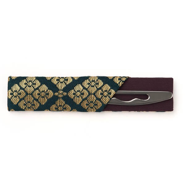 黒文字 ステンレス 刺繍袋入り(緑) (茶道具セット 茶道 薄茶用 抹茶 ギフト 贈り物)