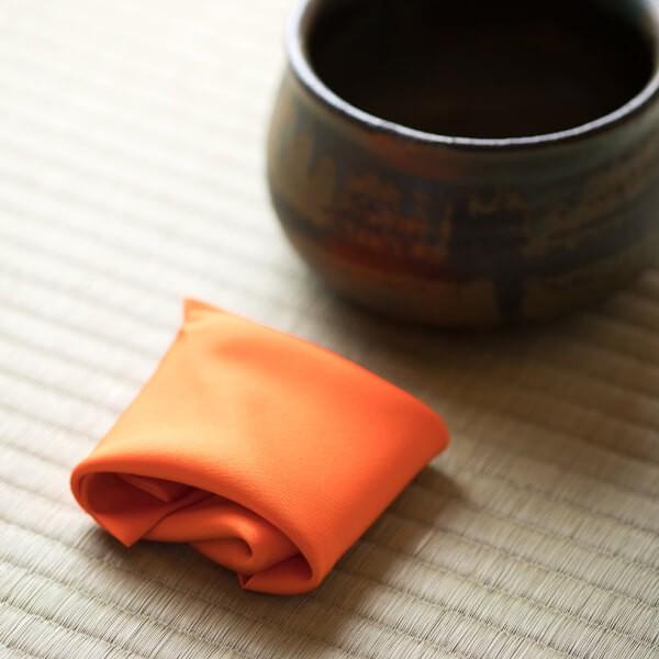 四季 彩 帛紗(オレンジ) (茶道具セット 茶道 薄茶用 抹茶 ギフト 贈り物)