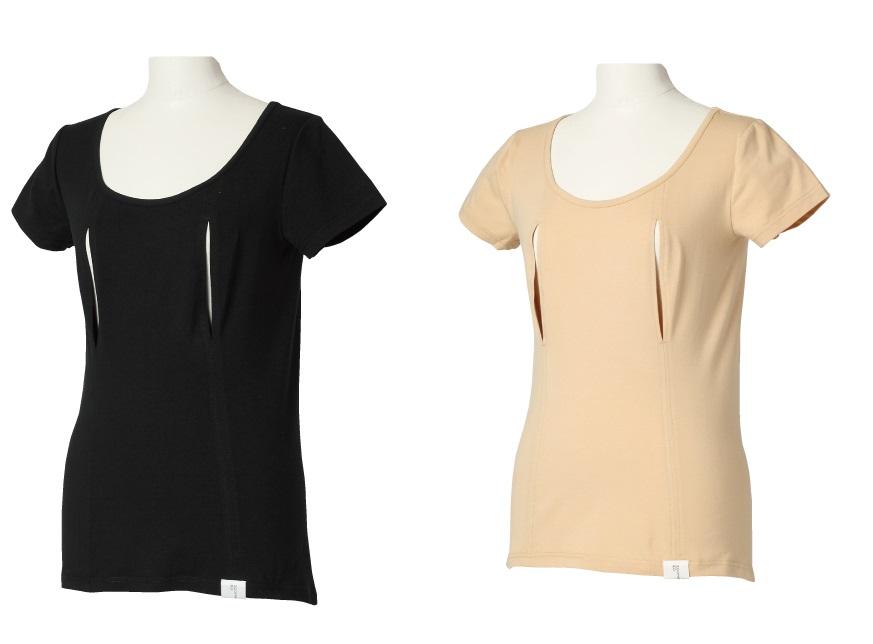 穴あきシャツ 一分袖 モーハウス 授乳用インナー モーブラ姉妹品 日本製 ネコポス可1個