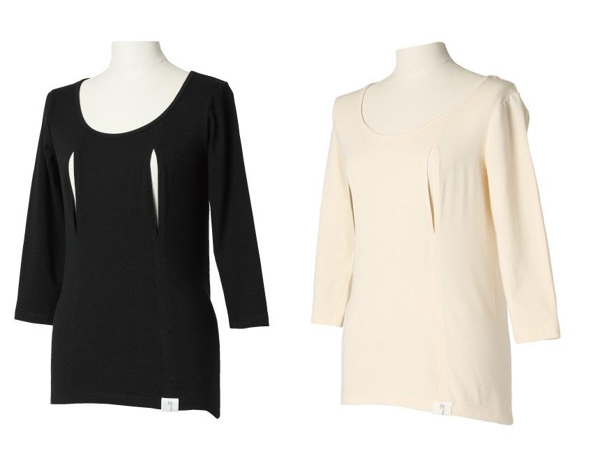 穴あきシャツ 七分袖 モーハウス 授乳用インナー モーブラ姉妹品 日本製【ネコポス可1個】