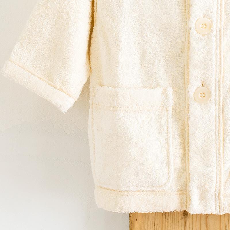 お取り寄せ商品  ベビーパーカバスローブ きなり メイドインアース 純オーガニックコットン 国産 日本製