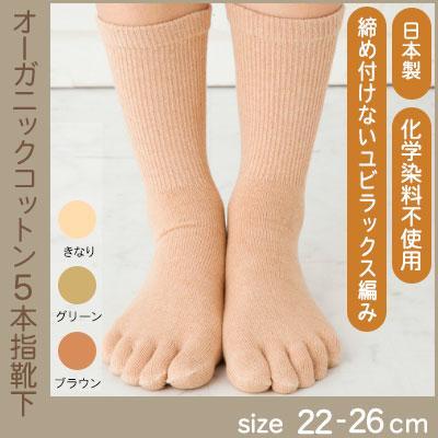 5本指ソックス・ゆったりオーガニックコットンS、M(生成、グリーン、茶)国産 日本製 【ネコポス可2個】