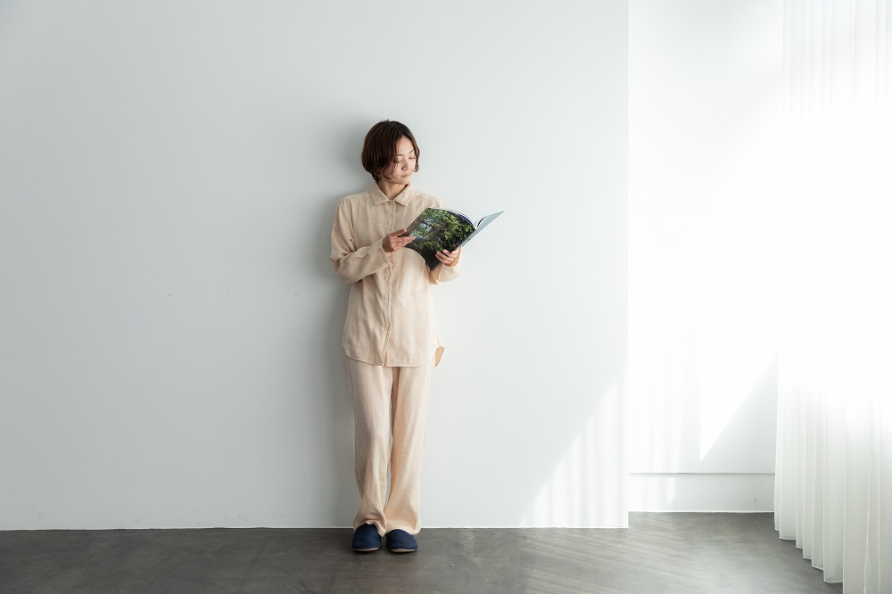 【お取り寄せ商品】ガーゼパジャマ ダブルガーゼ 茶 M L (到着まで4〜7日ほどかかります)