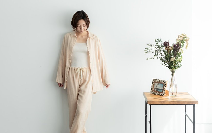 お取り寄せ商品 ガーゼパジャマパンツ 単品 ズボンのみ ダブルガーゼ 茶 M L(ご注文後出荷までの日数を別途ご連絡します)