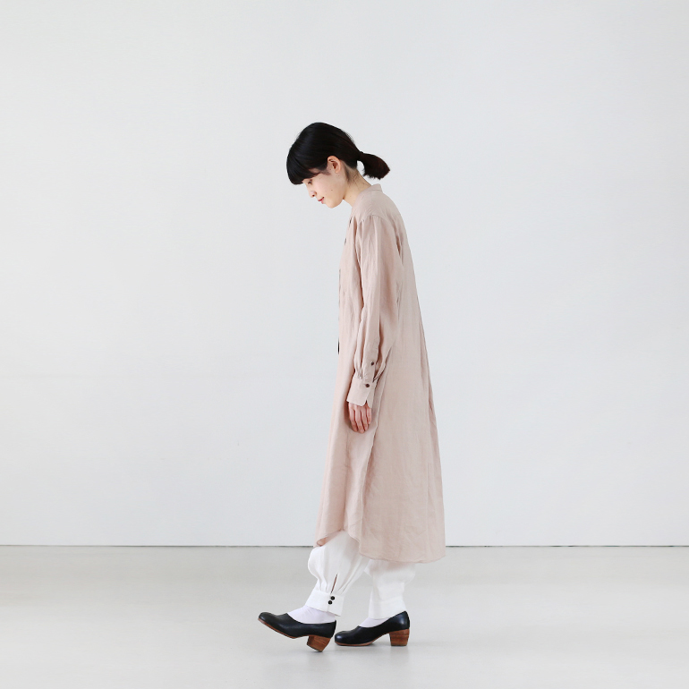 Ataraxia アタラクシア|High twist linen long shirt dress