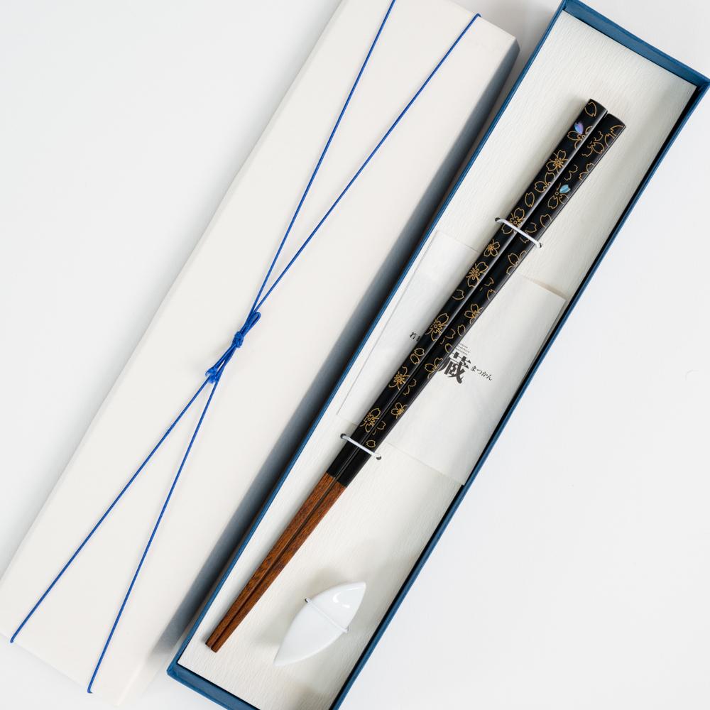 【アウトレット】花吹雪 黒 23cm 陶器リーフ箸置付 ギフト箱付