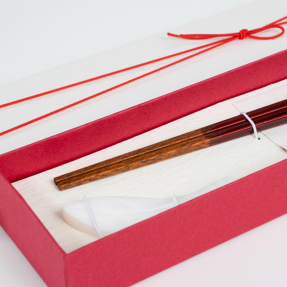 【アウトレット】雷光 朱 21.5cm シェル木の葉箸置付 ギフト箱付