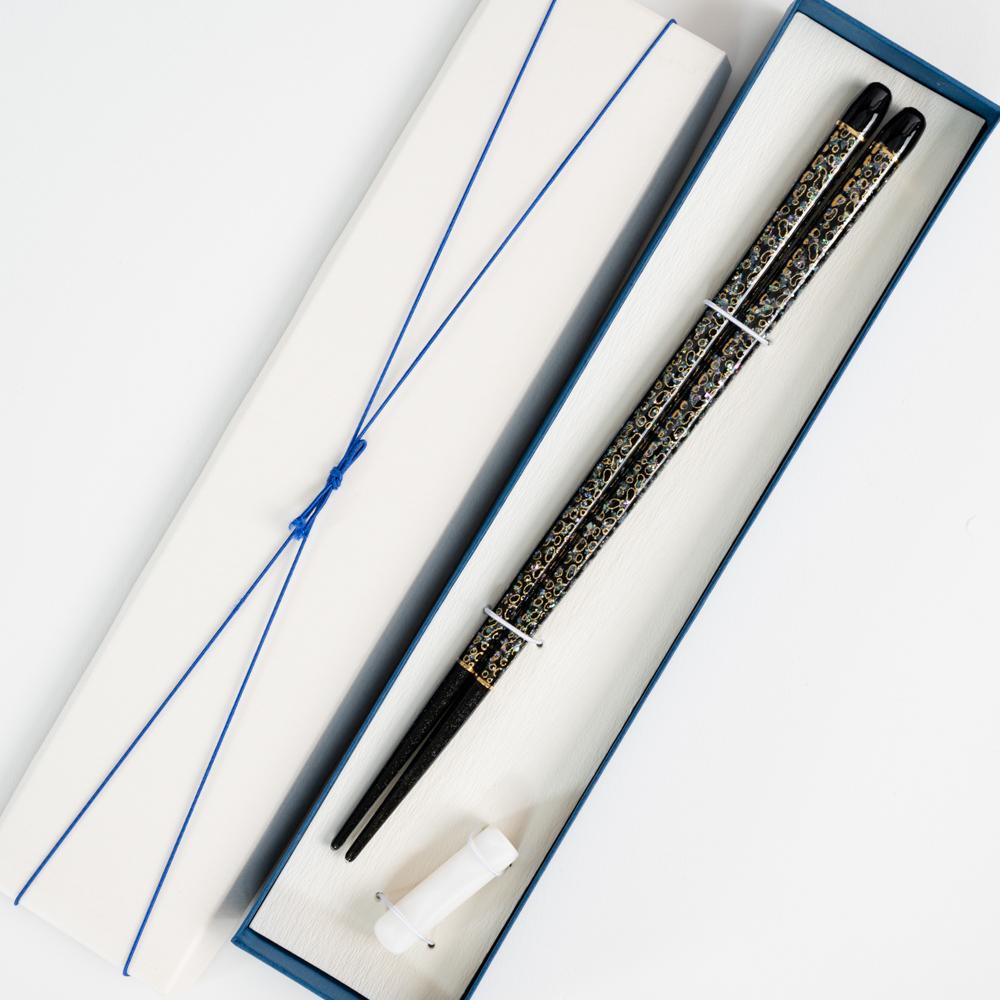 【アウトレット】若狭七々子 黒 23cm シェルバー箸置付 ギフト箱付
