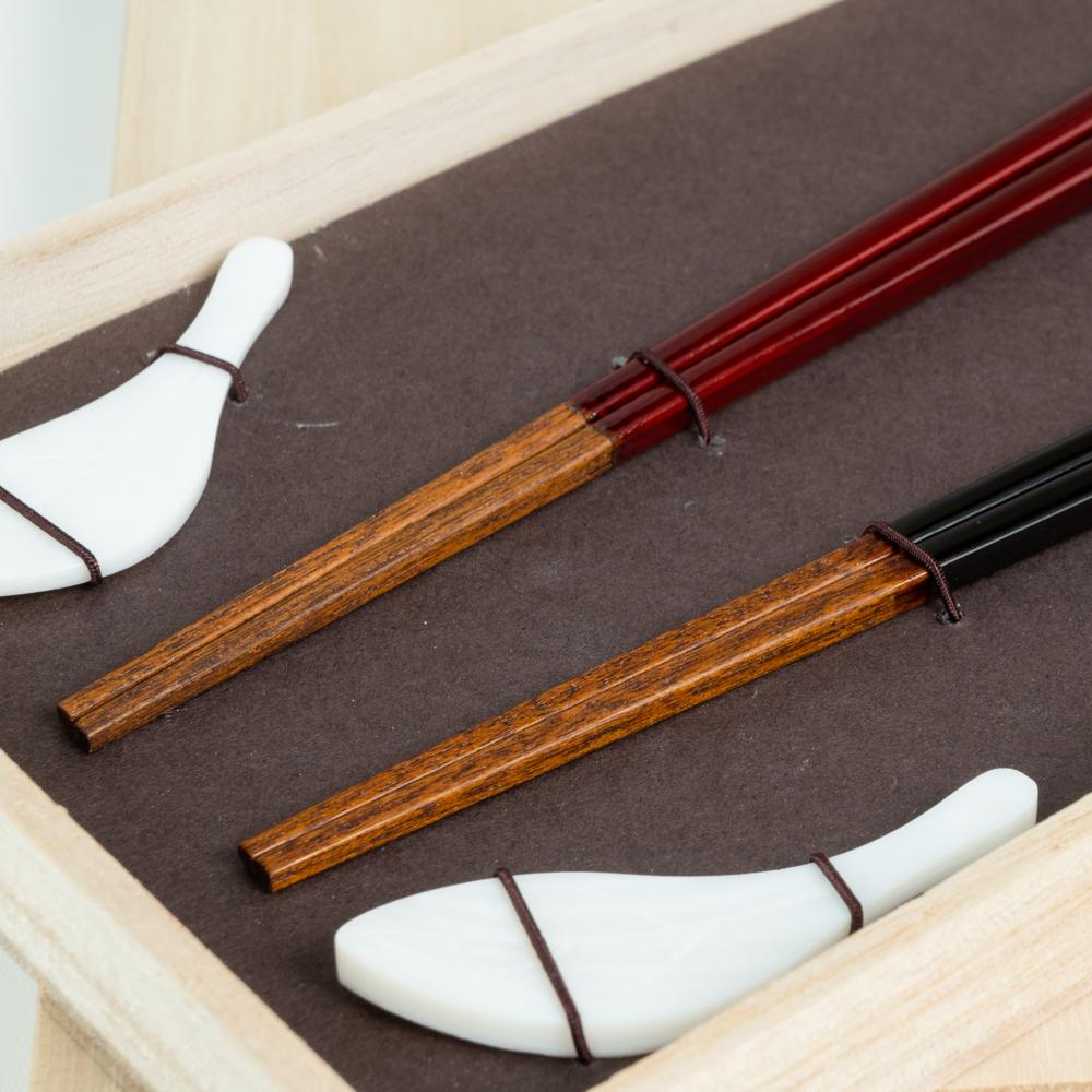【アウトレット】雷光 ペア シェル木の葉箸置付 ギフト箱付