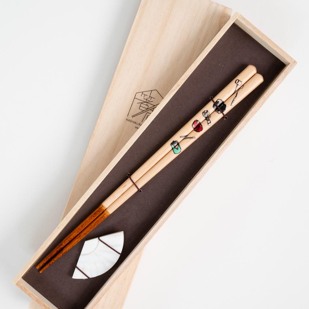 【アウトレット】ハレの箸 茶道具づくし シェル扇箸置付 ギフト箱付