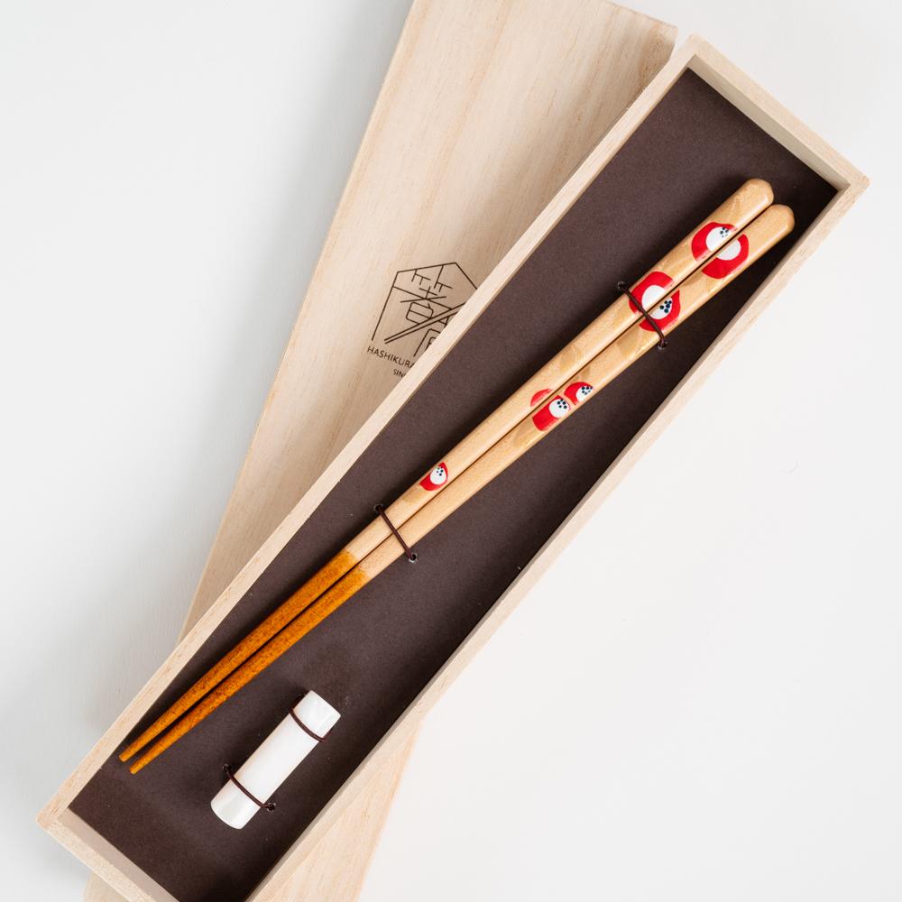 【アウトレット】花づくし 椿 シェルバー箸置付 ギフト箱付