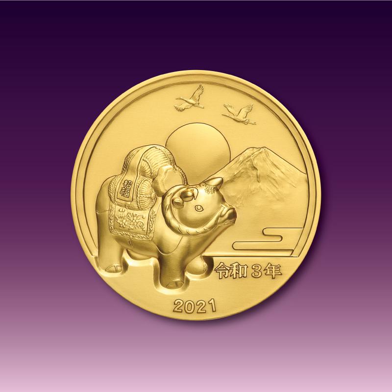 令和元号3年1月1日奉祝メダルと記念カバーのセット A.純金製のセット