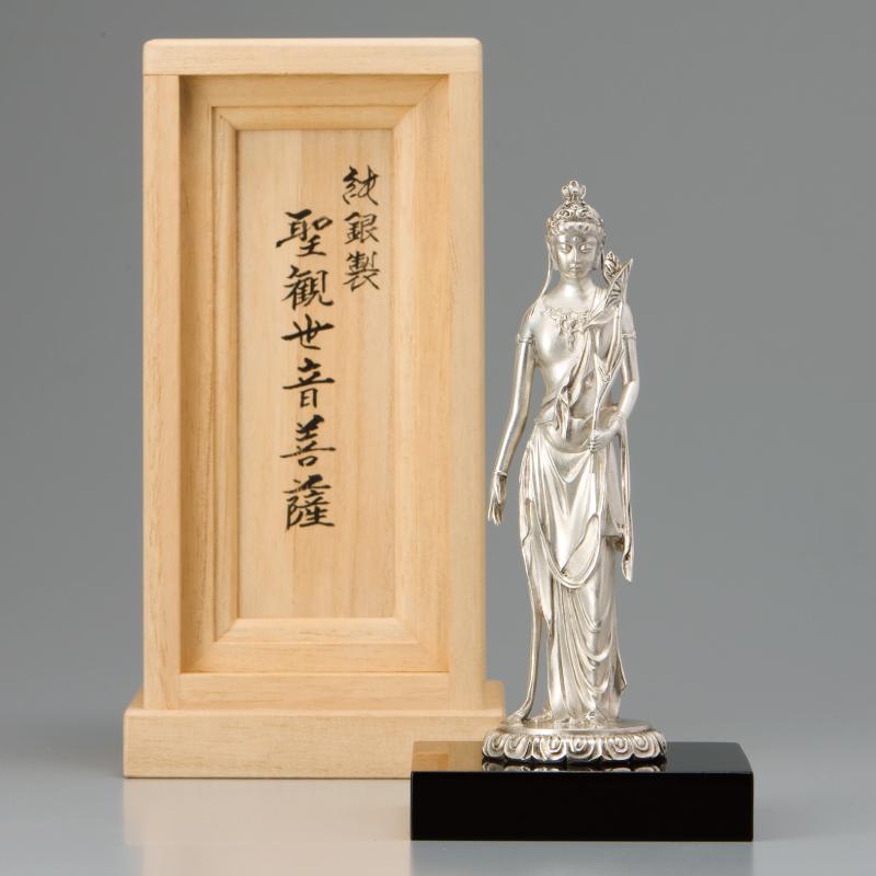 高村光雲作 純銀製 聖観世音菩薩