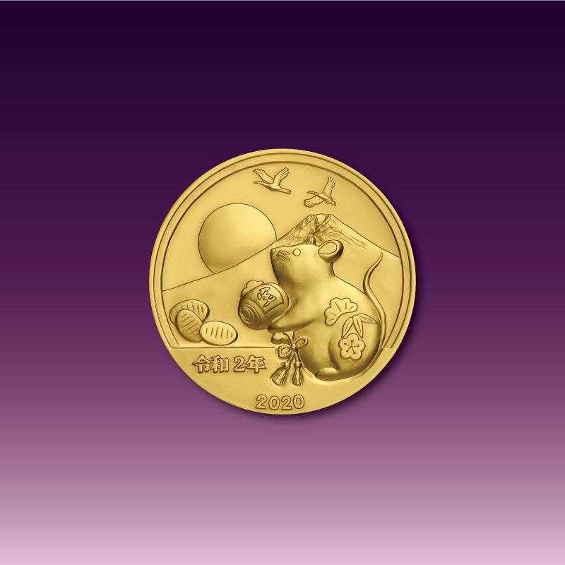 令和元号2年1月1日奉祝メダルと記念カバーのセット B.純金製のセット