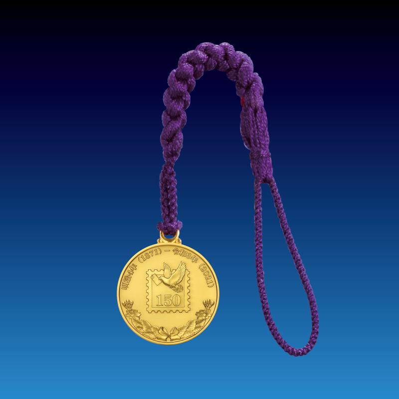 郵便創始150年記念メダル 18金製記念メダルの根付