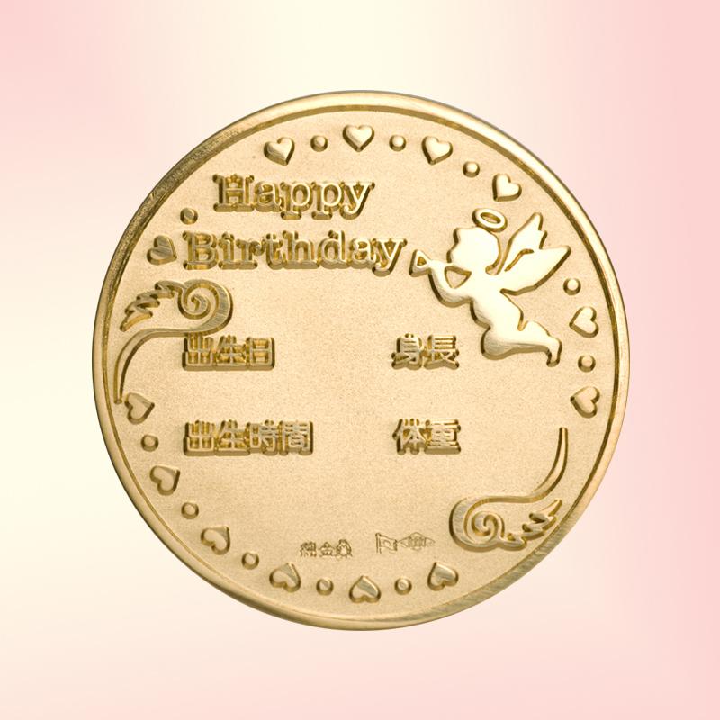 お誕生おめでとう!メダル メダルと銀製スプーンとフォークのセット 純金製 天使