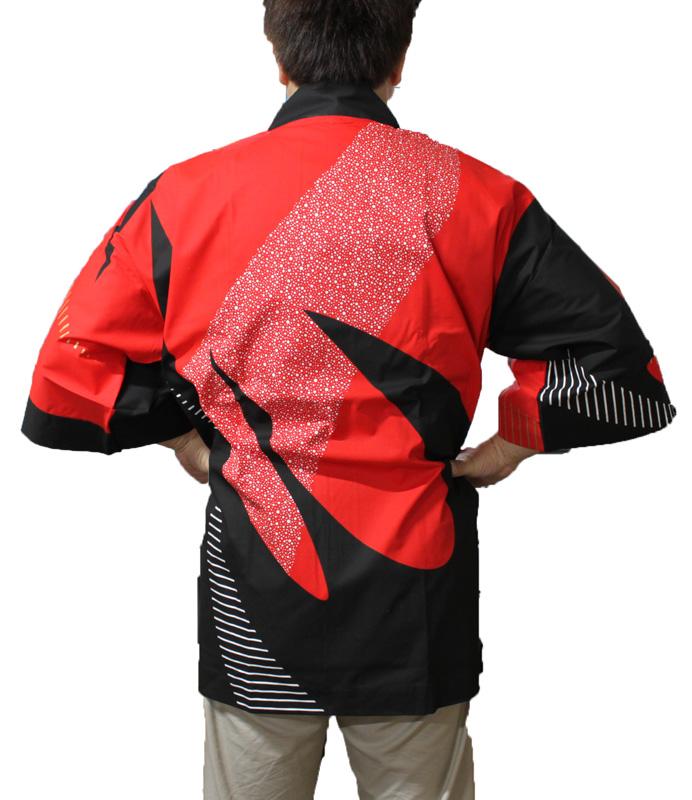 大人顔料プリント法被[昭]6350(赤・黒)