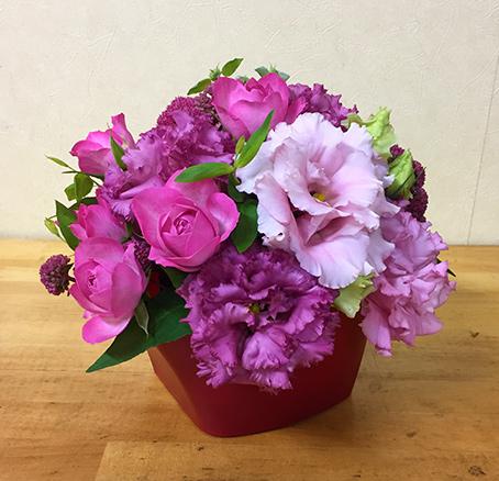 【生花アレンジメント】 たっぷり! リシアンサスの優雅なアレンジメント