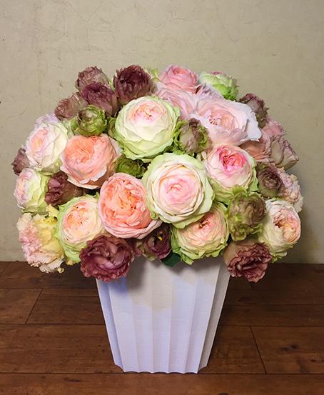 【色・サイズが選べる】バラとリシアンサスの大きなアレンジメント