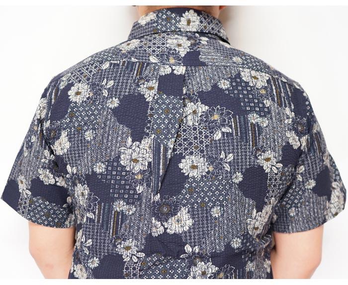衣櫻 ころもざくら 和柄 半袖シャツ 日本製 MADE IN JAPAN メンズ シアサッカー素材 流水牡丹 SA-1333 送料無料【衣櫻から新作和柄半袖シャツが登場!!】