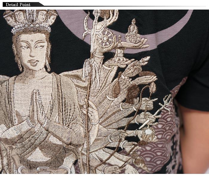 華鳥風月 かちょうふうげつ 和柄 Tシャツ 半袖 メンズ 千手観音 刺繍 3002105 送料無料【華鳥風月から新作Tシャツが登場!!】
